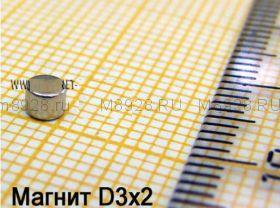 Магнит 3x2 мм N33