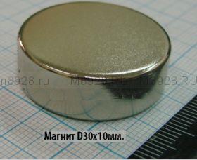 Магнит 30х10 неодимовый N35 (23кг)