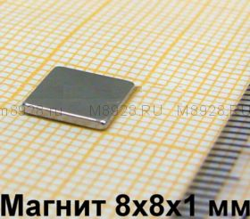 Магнит N33 8x8x1мм